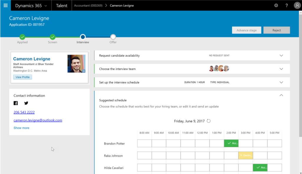 Printscreen van Microsoft Dynamics for talent