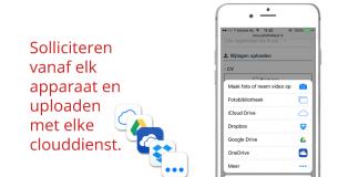 Naast Dropbox nu ook CV uploaden met o.a. Google Drive en iCloud