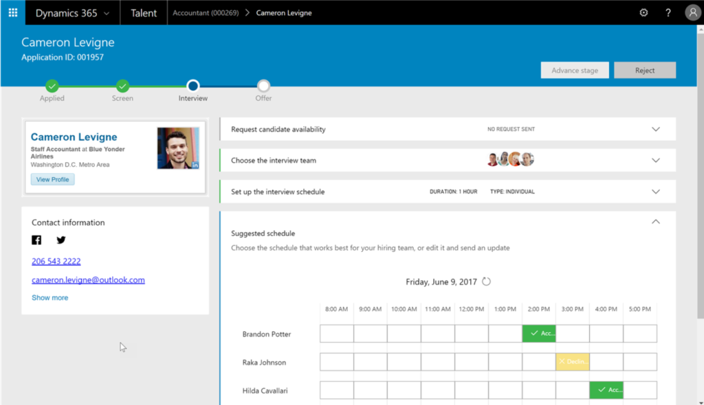 Printscreen van Microsoft Dynamics for talent